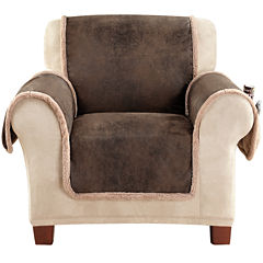 SURE FIT® Vintage Faux-Leather Reversible Pet-Friendly Chair Slipcover