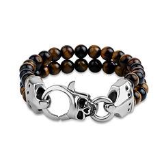 Mens Brown Tiger'S Eye Stainless Steel Beaded Bracelet