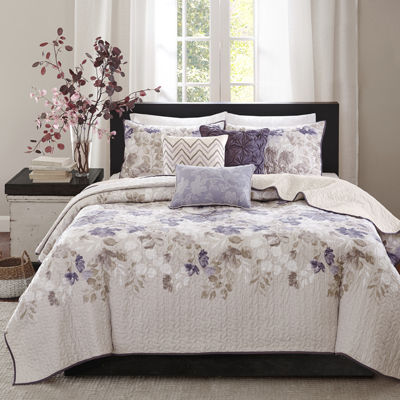 madison park piper floral 6pc quilted coverlet set