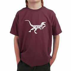 Los Angeles Pop Art Created Out Of The Word Velociraptor Graphic T-Shirt-Big Kid Boys