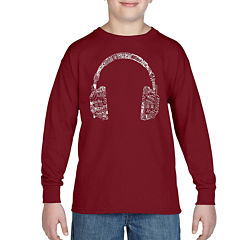 Los Angeles Pop Art The Word Music In Different Languages Graphic T-Shirt-Big Kid Boys