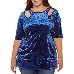 Bisou Bisou 3/4 Sleeve Mock Neck Knit Blouse-Plus