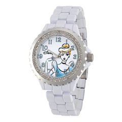 Disney Womens Cinderella White Enamel Watch
