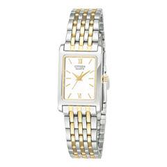 Citizen® Womens Rectangular Two-Tone Stainless Steel Bracelet Watch EJ5854-56A