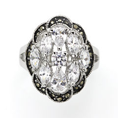 city x city® Crystal and Marcasite Cocktail Ring