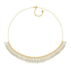 Diamond-Accent 18K Gold Over Brass Fringe Necklace