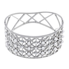 Stainless Steel Bangle with Simulated Pearls and Cubic Zirconia