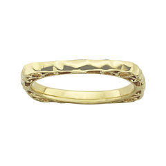 Personally Stackable 18K Gold Over Sterling Silver Wavy Square Ring