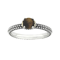 Personally Stackable Genuine Tiger's Eye Two-Tone Ring
