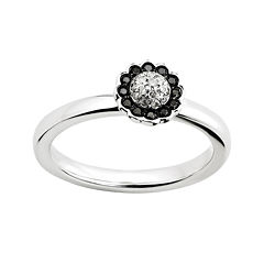 Personally Stackable 1/7 CT. T.W. White and Color-Enhanced Black Diamond Flower Ring
