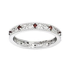 Personally Stackable Genuine Garnet Filigree Eternity Ring