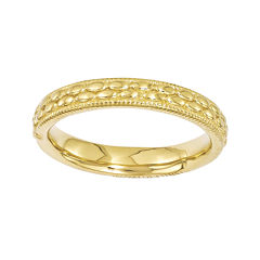 Personally Stackable 18K Yellow Gold Over Sterling Silver Patterned Ring