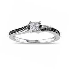 Midnight Black Diamond 1/5 CT. T.W. White & Color-Enhanced Black Diamond 10K White Gold Ring
