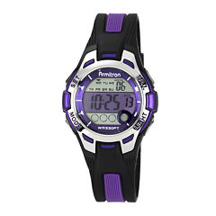 Armitron® Pro-Sport Womens Black/Purple Resin Strap Chronograph Sport Watch 45/7030PURJ