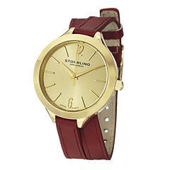Stuhrling® Original Womens Red Leather Wrap-Around Strap Watch