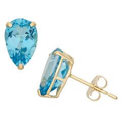 Pear Blue Topaz 10K Gold Stud Earrings