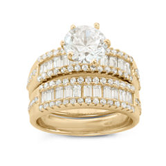 Womens 4 CT. T.W. White Cubic Zirconia 14K Gold Over Silver Bridal Set