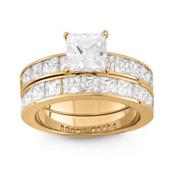 Womens 6 Ct.T.W. White Cubic Zirconia 14K Gold Over Silver Bridal Set
