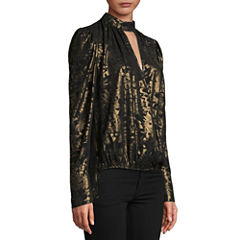 Bisou Bisou Long Sleeve Surplice High Low Top