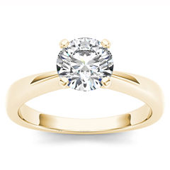 Womens 1 CT. T.W. Genuine Round White Diamond 14K Gold Solitaire Ring