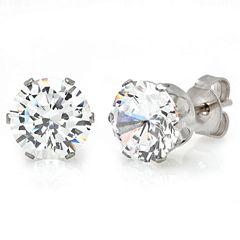 Round White Cubic Zirconia Stud Earrings