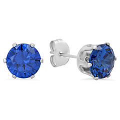 Round Blue Cubic Zirconia Stud Earrings