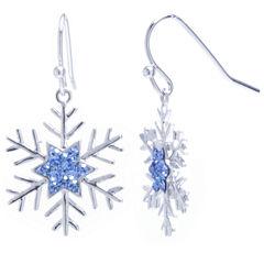 Sparkle Allure Blue Silver Over Brass Drop Earrings
