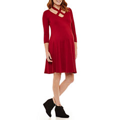 Planet Motherhood 3/4 Sleeve A-Line Dress-Maternity
