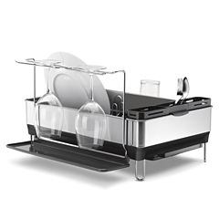 simplehuman® Steel Frame Dish Rack + Wine Glass Holder