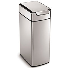 simplehuman® 40L Brushed Stainless Steel Slim Touch-Bar Trash Can