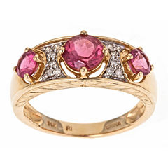 LIMITED QUANTITIES! 1/10 CT. T.W. Pink Tourmaline 14K Gold Band