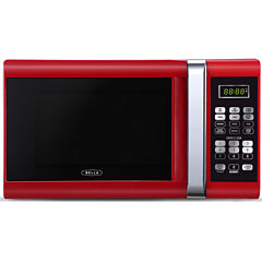Bella 900-Watt Red with Chrome Microwave Oven, 0.9 Cubic Feet