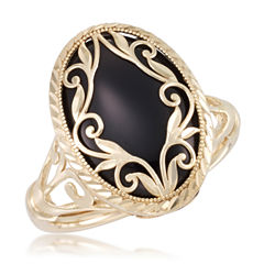 Womens Dyed Black Onyx 10K Gold Cocktail Ring