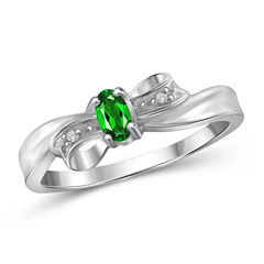 Womens Diamond Accent Color Enhanced Green Chrome Diopside Sterling Silver Delicate Ring