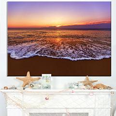 Design Art Orange Tinged Sea Waters At Sunset Beach Photo Canvas Print