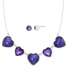 Liz Claiborne® Purple Crystal Heart Earring and Necklace Set