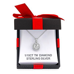 LIMITED TIME SPECIAL! 1/10 CT. T.W. Double Halo Diamond Pendant Necklace in Sterling Silver