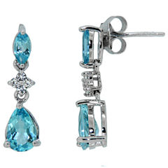 Sterling Silver Blue Topaz Linear Drop Earrings