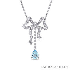 Laura Ashley Blue Blue Topaz Pear Sterling Silver Pendant