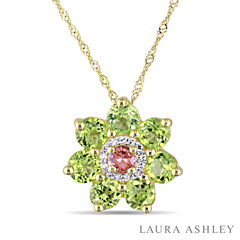 Laura Ashley Womens Green Peridot 18K Gold Over Silver Pendant Necklace