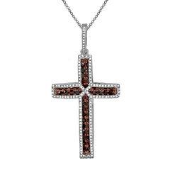 LIMITED QUANTITIES 3/4 CT. T.W. White & Color-Enhanced Cognac Diamond Cross Necklace