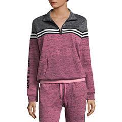 Flirtitude Fleece Half Zip Sweatshirt-Juniors