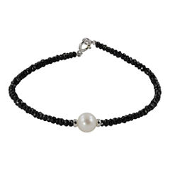 Cultured Freshwater Pearl & Genuine Onyx Bracelet