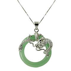 Green Jade Circle & Dragon Pendant Necklace