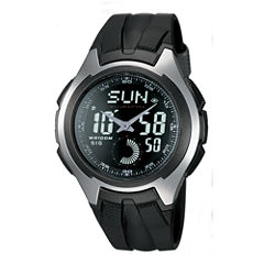 Casio® Mens Black Resin Strap Analog/Digital Watch AQ160W-1BV