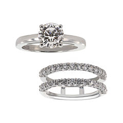 DiamonArt® Cubic Zirconia Solitaire Ring with Ring Guard Insert