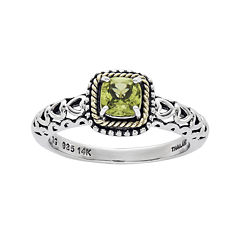 Shey Couture Genuine Peridot 14K Gold Over Sterling Silver Heart Cutout Ring