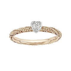 Personally Stackable Diamond-Accent 18K Rose Gold Over Silver Stackable Heart Ring
