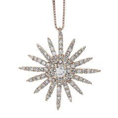 5/8 CT. T.W. Diamond 14K Rose Gold Starburst Pendant Necklace
