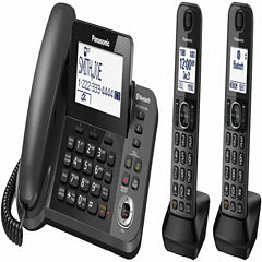 Panasonic KX-TGF382M Link2Cell DECT 6.0 Bluetooth Corded Phone with 2 Cordless Handsets & Answering Machine - Metallic Black